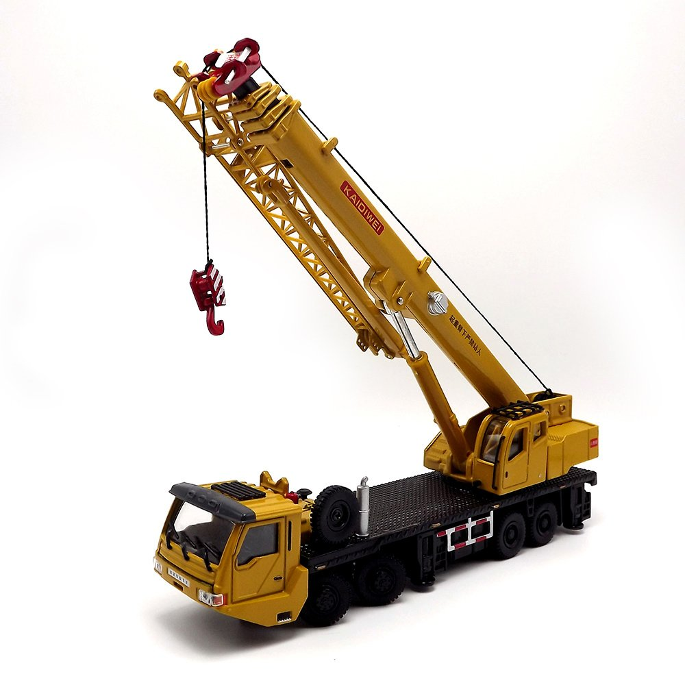 eMart Kids Alloy Die-cast Model Toy Engineering Heavy Crane Truck Vehicle Car Simulation Miniature 1:55 Yellow Gift eMart Tech
