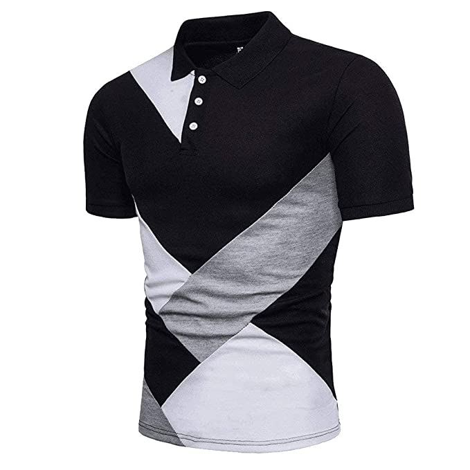 5bd97c13250 Dressin Men's T Shirts, Mens Fashion Personality Color Block Tops Casual  Slim Short Sleeve Patchwork Polo Shirt Tops at Amazon Men's Clothing store: