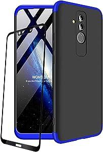 JOYTAG compatibles para Funda Huawei Mate 20 Lite Carcasa +Protectora de película de Vidrio Templado 360 Grados Ultra Delgado 3 en 1 Case-Azul Negro