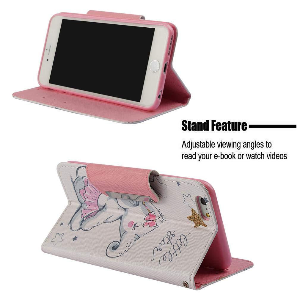 Amazon.com : iPhone 6 Plus/6S Plus Case, Durable Slim 3D Printing Wallet Case PU Leather Lightweight Card Holder Shockproof Wrist Strap Kickstand Flip Folio ...