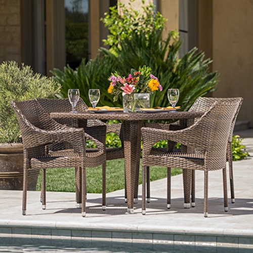 Cottage Outdoor Patio Mixed Moca Wicker Dining Set ()