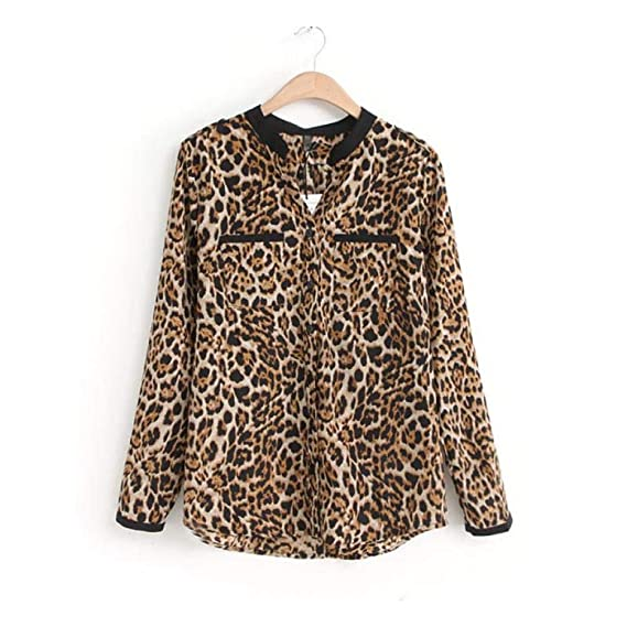 Overdose Mujeres Leopardo Manga Larga Camisa De Gasa Blusas Casuales Delgadas SeñOra Top Tops SeñOras