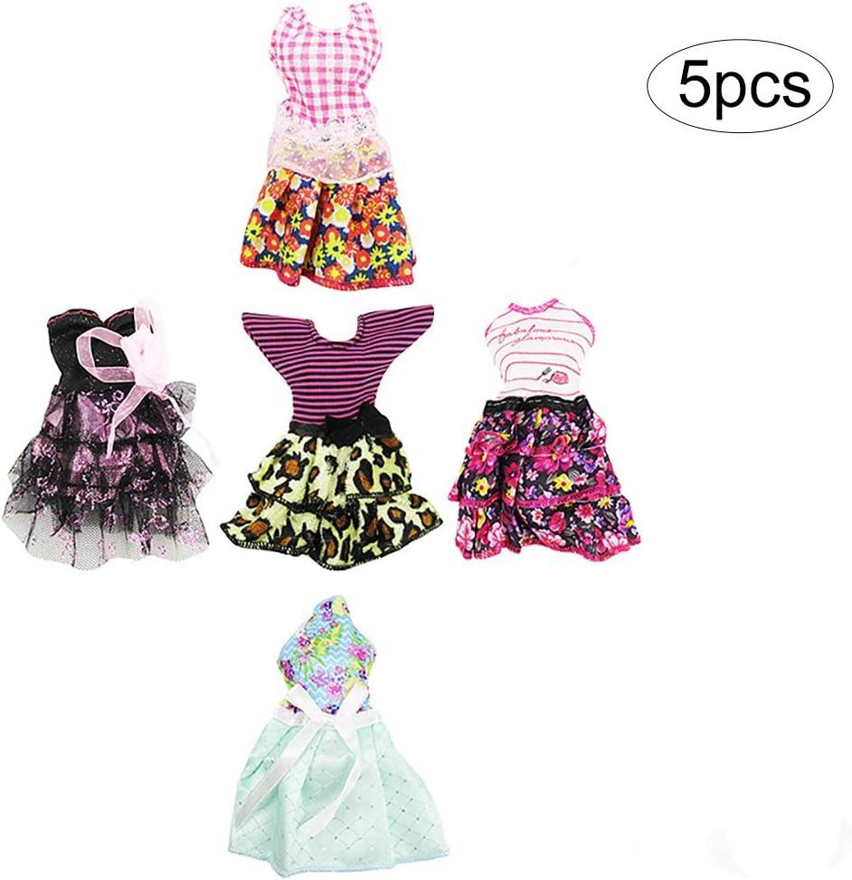 5pcs Mini Verano Vestido de Barbie Barbie Muñeca Ropa hecha a mano ...