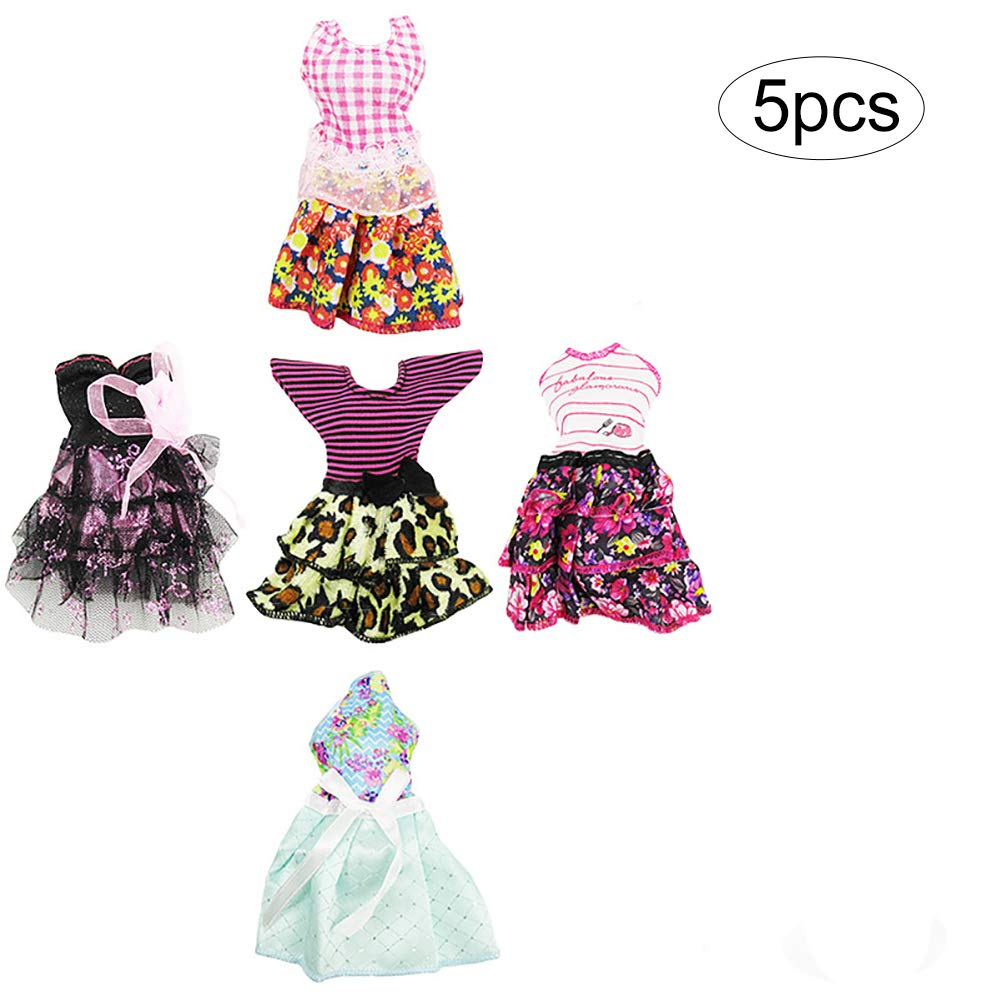 5PCS Mini Summer Barbie Dress Barbie Doll Clothes Handmade Short Party Dress Costume for Barbie Doll(Random) Wudi
