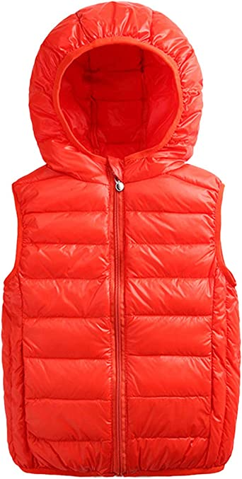 Kids Down Vest Toddler Hooded Gilets Lightweight Coat Sleeveless Jacket Winter Outerwear Body Warmers