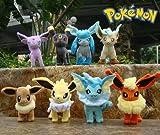 Eevee Evolution Eevee Espeon Jolteon Vaporeon Flareon Glaceon Umbreon Stand Pokemon Anime Animal Stuffed Plush Plushies Doll Toys