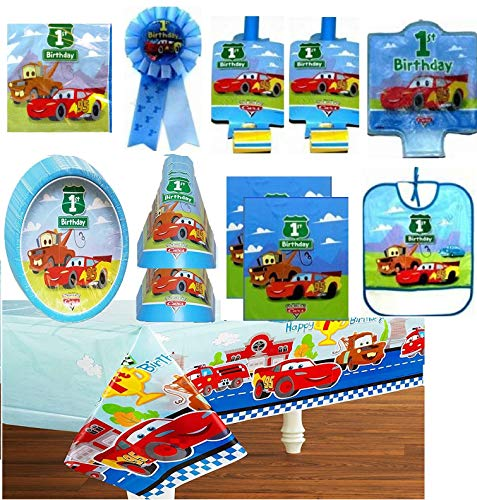 Disney Cars 1st Birthday Party Supply Deluxe Set for 16 includes Plates, Napkins, Table Cover, Hats, Blowouts, Loot Bags, Candle, Bib, Ribbon