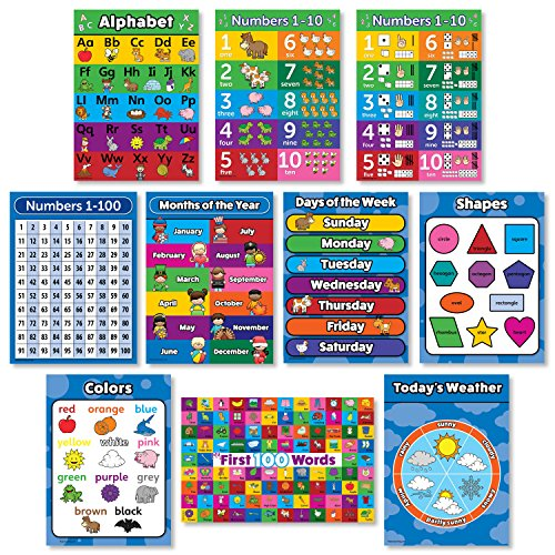 ter Kit - Set of 10 Educational Wall Posters for Preschool Kids - ABC - Alphabet, Numbers 1-10, Shapes, Colors, Numbers 1-100, Days of the Week, Months of the Year, Weather Chart ()