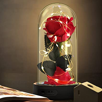 Home & Garden Beauty And The Beast Red Rose In A Glass Dome On A Wooden Base Rose Lamp For Valentines Gifts 2 Rose Selling Well All Over The World Artificial & Dried Flowers