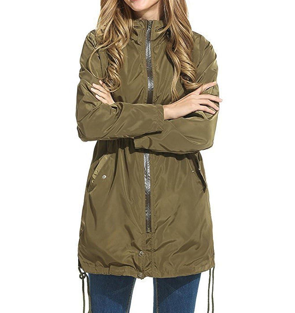 Nilover Womens Ladies Lightweight Loose Rain Mac Water Wind Proof Hooded Full Zip Jacket