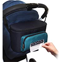 Pram or Stroller Organiser ...with Easy Access Baby Wipe Storage Pocket Waterproof Includes Two Insulated Bottle or Cup Holders Space for Phones Keys Purse Nappies iPad Toys Books PLUS BONUS Mesh Pouch and 2 x Pram Hooks