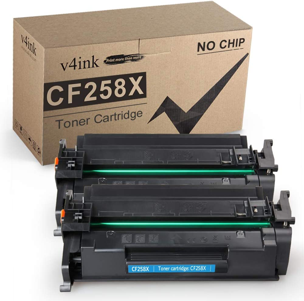 v4ink Compatible Toner Cartridge Replacement for HP 58X CF258X, to use for HP Laserjet Pro M404dn M404n M404dw, Laserjet Pro MFP M428fdw M428fdn M428dw, HP M304 Printer (Black, 2 Pack Without chip)