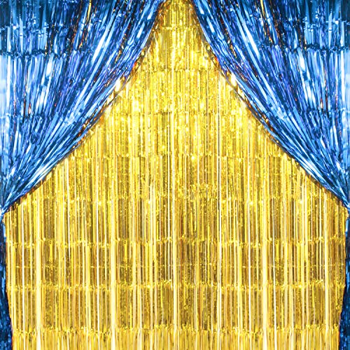 2PCS 3' X 8' Gold and Blue Metallic Tinsel Foil Fringe Curtain Birthday Party Valentine's Day Decoration Backdrop ()