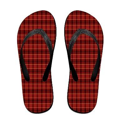 Unisex Non-slip Flip Flops Plaid Cool Beach Slippers Sandal