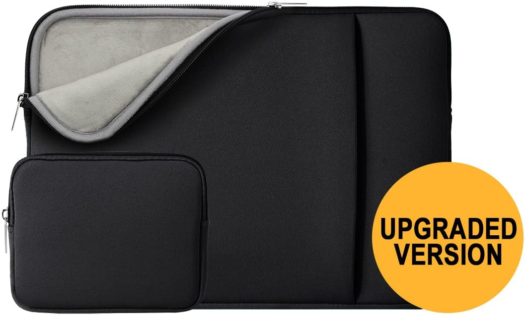 "RAINYEAR 11 Inch Laptop Sleeve Case Soft Lining Cover Bag with Front Pocket & Accessories Pouch,Compatible with 11.6"" MacBook Air for 11"" Notebook Computer/Tablet/Chromebook(Black,Upgraded Version)"