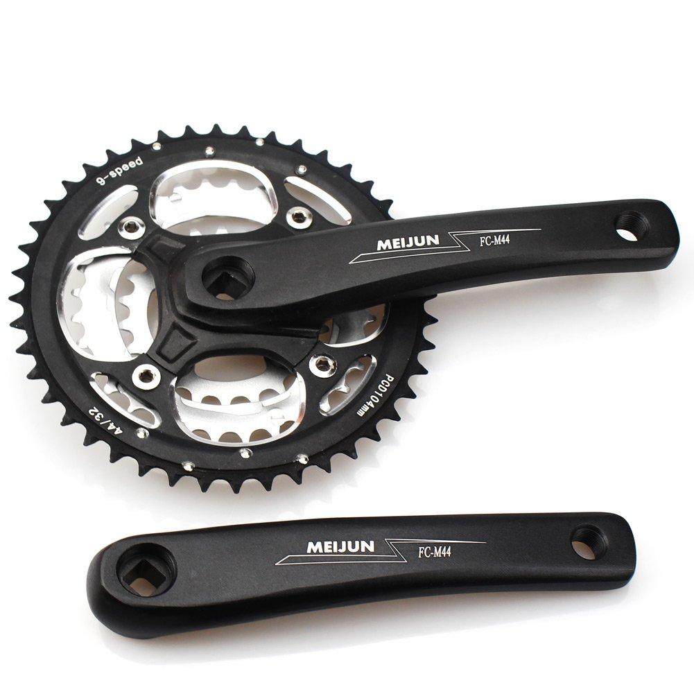 Cysky MTB Kurbelsatz 9 Speed Kettenradgarnitur 44Z 32Z 22T 104 BCD Kettenradgarnitur für Mountain Bike compatibal mit Shimano, SRAM, Microshift Schalthebel 7 8 9 Umwerfer (Verlaufsfilter Kurbel Arm, quadratisch Taper)