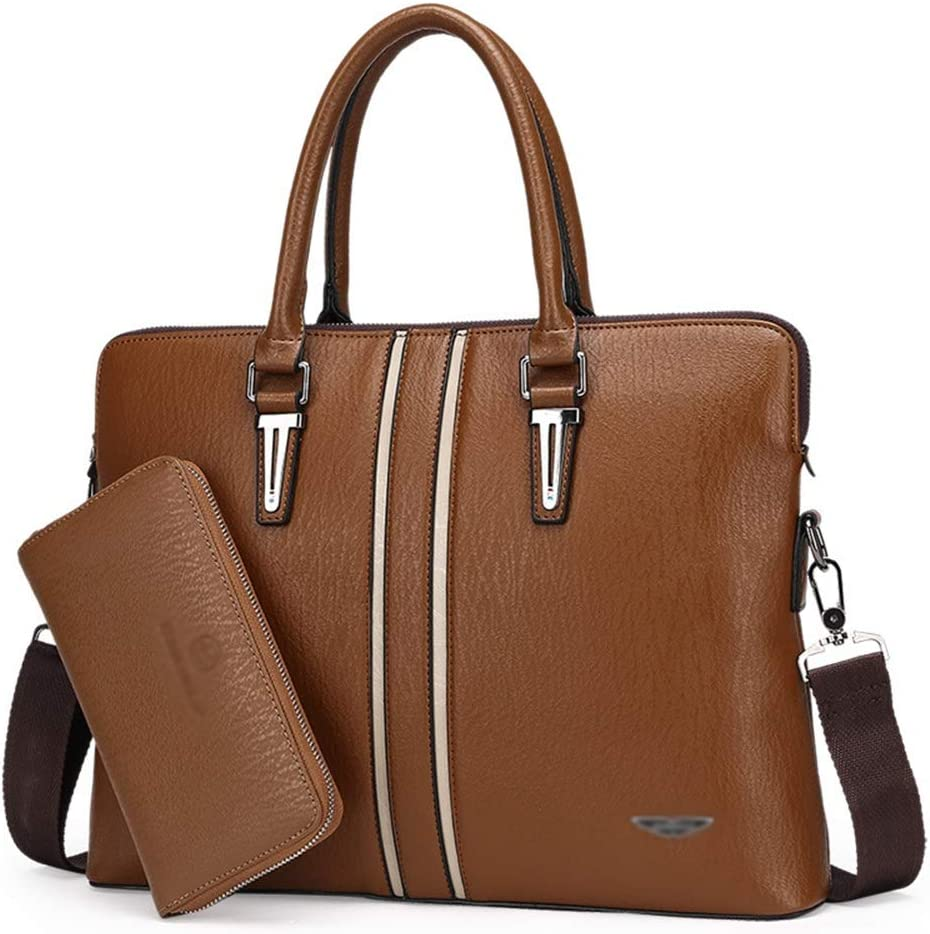 Iddefee Leather Briefcase Laptop Handbag Big Business Casual Leather Bag Mens Handbag Horizontal Leather Mens Bag Crossbody Bag Shoulder Briefcase Messenger Business Bags for Men Color : Black