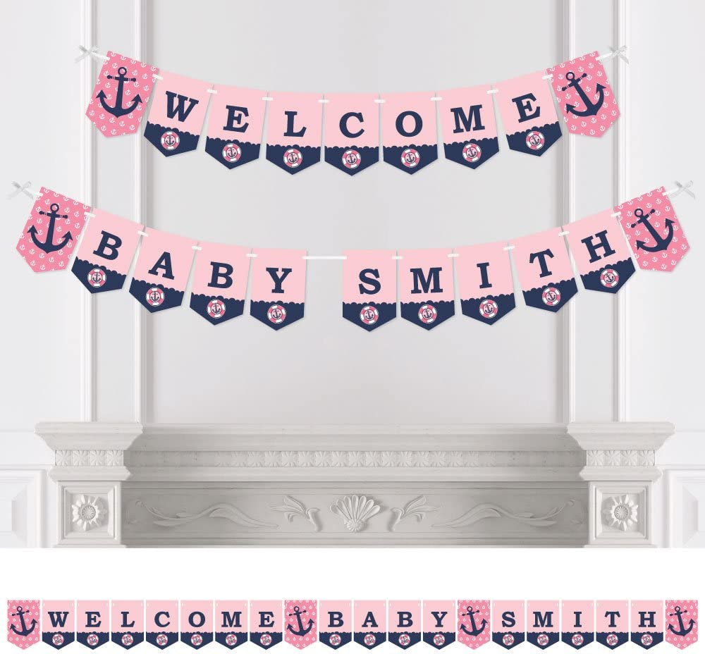 pack of 2 PERSONALISED Baby Shower or Gender Reveal Banner Pink Blue Add Name