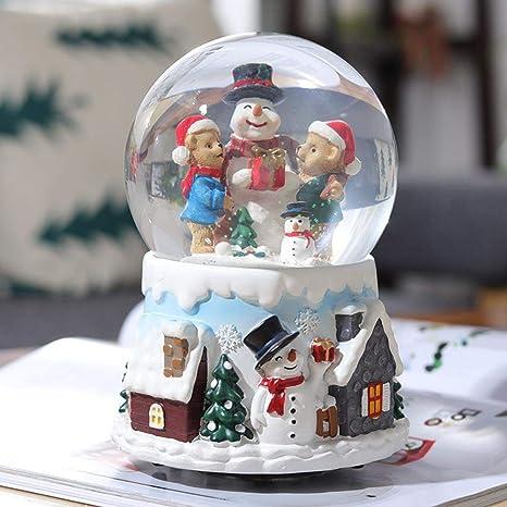 SPFAZJ Musical de Navidad Caja Copo de Nieve Cristal Luminosa Bola giratoria Caja de música clásica