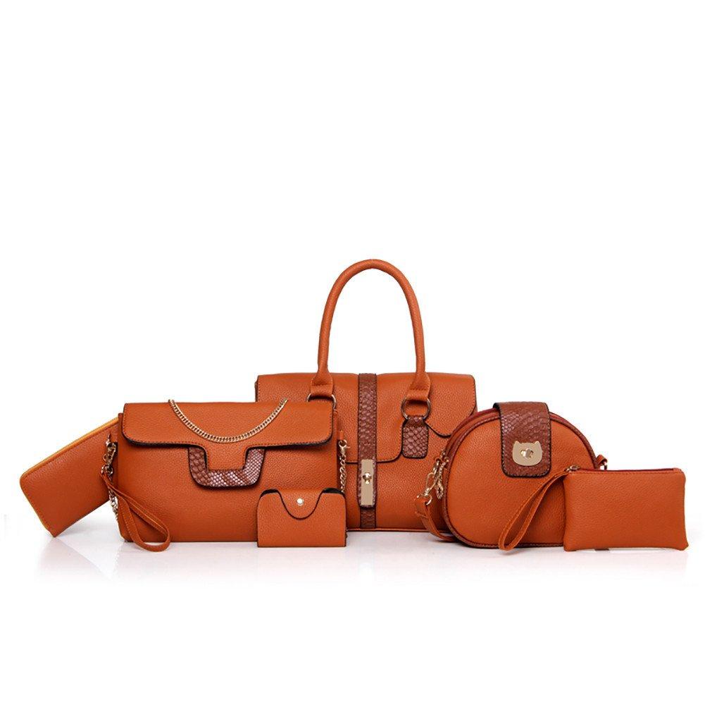 Womens Leather Bag,6 Packs Multi-Purpose Leatherette Shoulder Bag Handbag Messenger Bag for Mom and Girls (Orange) by Besde Other