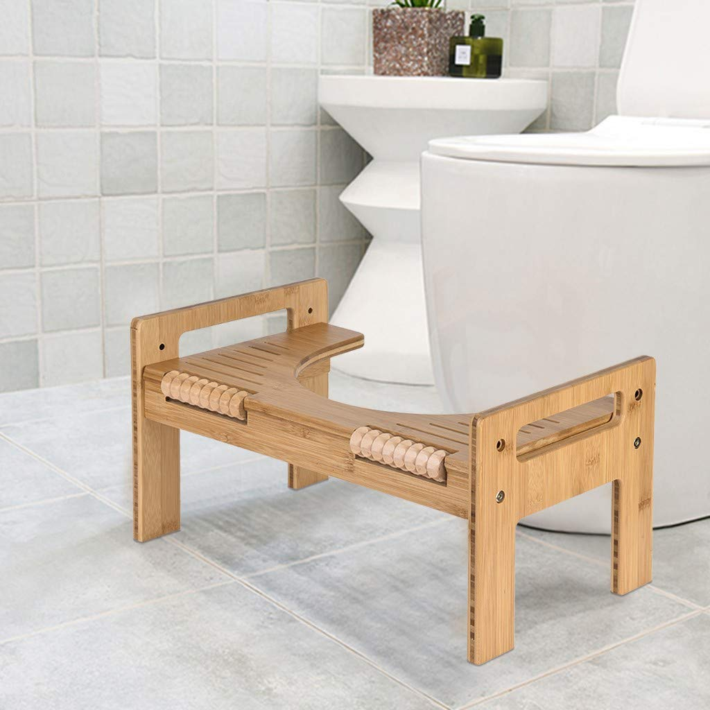7'' or 9'' Adjustable Bamboo Squatting Toilet Stool, Portable Bathroom Toilet Stool Squatting Urinal Squatty Potty Training, Built-In Foot Massager, for Kids, Toddlers, Adults and Elders, Reduce Constip by HAWC-US Direct