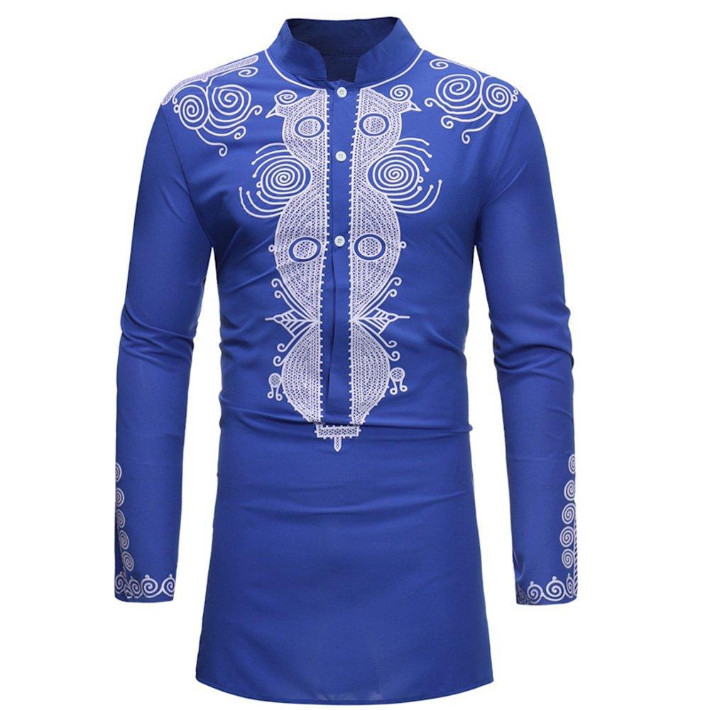 Shujin Herren Sommer Stehkragen Dashiki Langarmshirt Traditionelles Oberteil mit afrikanischem Druck Beiläufige Slim Fit Tribal Hemd T-Shirt Longshirt Tops