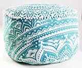 Handicraft-World Indian Beautiful Large Mandala Seating Furniture Round Floor Meditation Footstools Ottoman Poufs Cover Footstool ottoman 24'' By HW-40