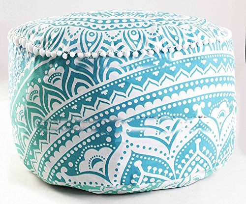 Handicraft-World Indian Beautiful Large Mandala Seating Furniture Round Floor Meditation Footstools Ottoman Poufs Cover Footstool ottoman 24'' By HW-40 by Handicraft-World