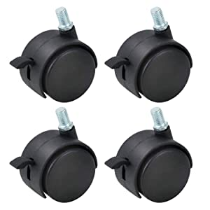 "Gizhome 4 Pack 2 Inch Nylon Plastic Replacement Caster Swivel Furniture Wheels Floor Protecting Office Chair Swivel Caster Threaded Stem 5/16"" 3/5"" with Brake Black"