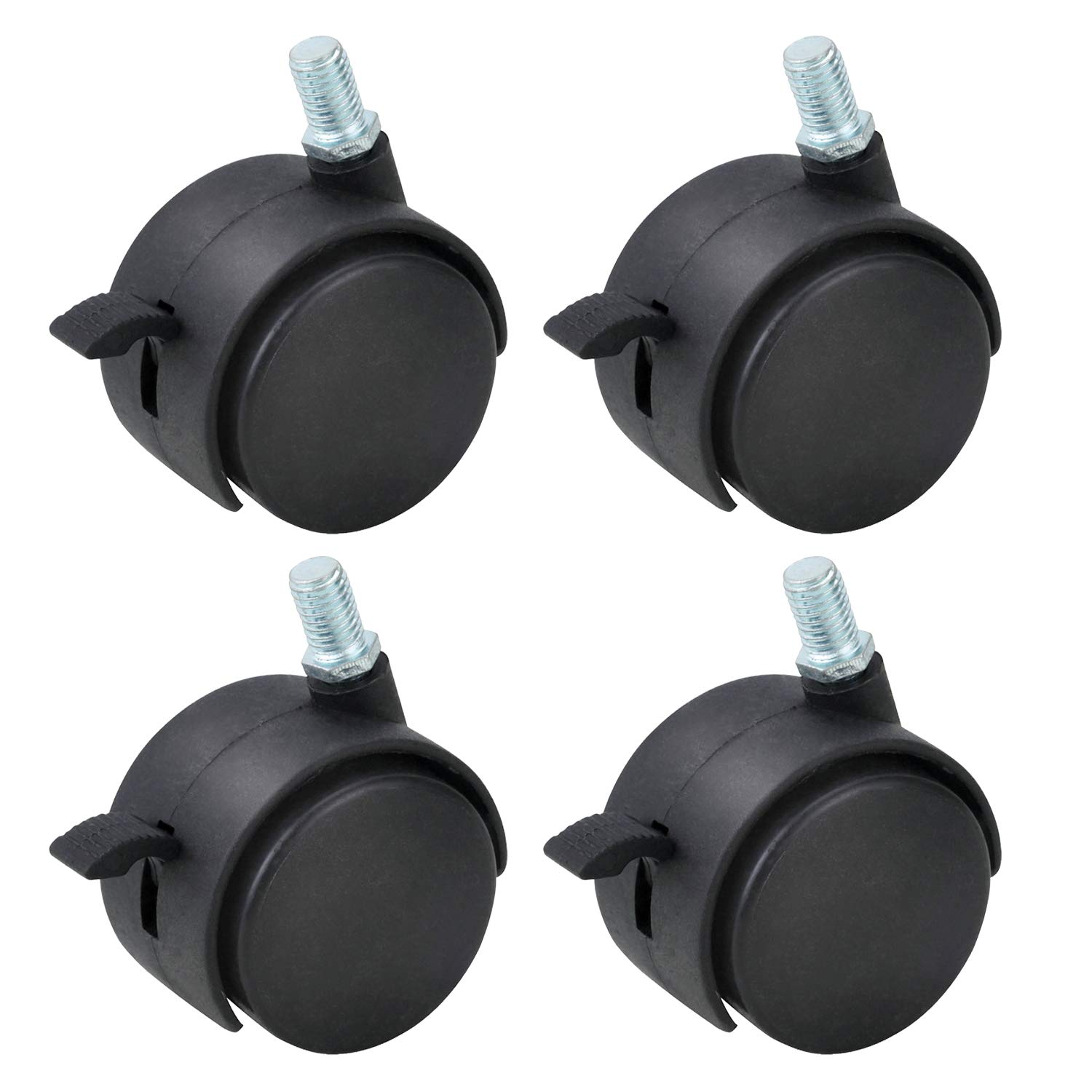 Gizhome 4 Pack 2 Inch Nylon Plastic Replacement Caster Swivel Furniture Wheels Floor Protecting Office Chair Swivel Caster Threaded Stem 5/16'' 3/5'' with Brake Black