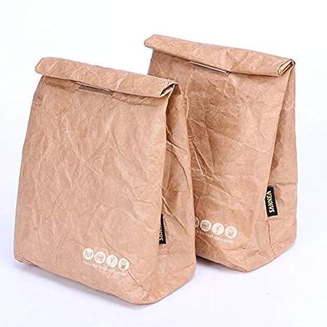Amazon.com: HUVE Bolsas de almuerzo duraderas de papel kraft ...