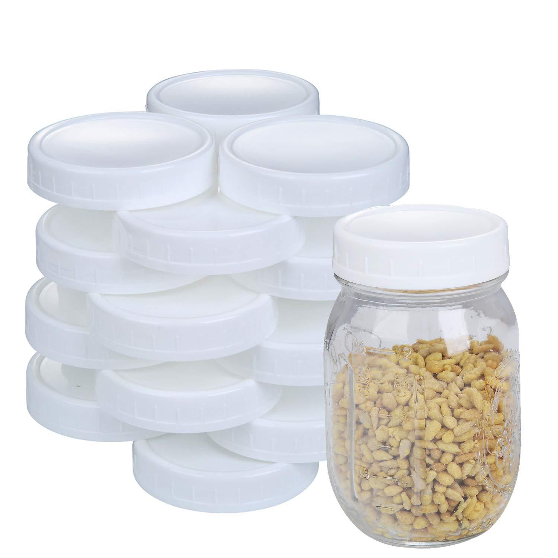 2 Dozen Regular Mouth Lids Mason Jar Lids Plastic Storage Caps for Mason Canning Jars and More, Standard, Dia 70mm, White by STARUBY