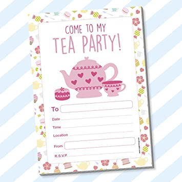 Childrens Kids Birthday Party Invitations Invites Pack Pads Blank Boys Girls Tea