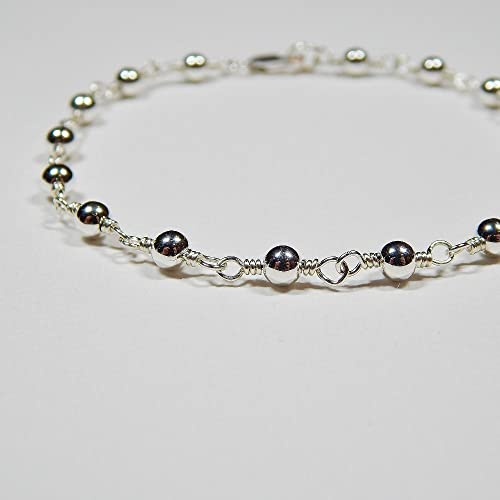 Amazon Com Beaded Rosary Bracelet In Sterling Silver Handmade