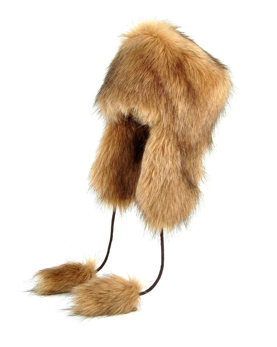 Futrzane Aviator Faux Fur Hat Cossack Russian Style Trapper Winter Women Hat Ushanka (M, Beige)