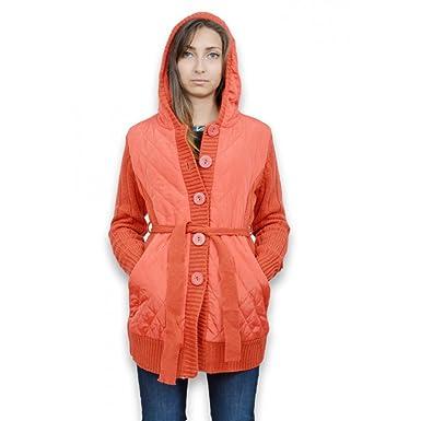 33f33cf523c26 Veste femme longue - Veste femme avec capuche et ceinture taille unique de  couleur orange - Unique  Amazon.fr  Vêtements et accessoires
