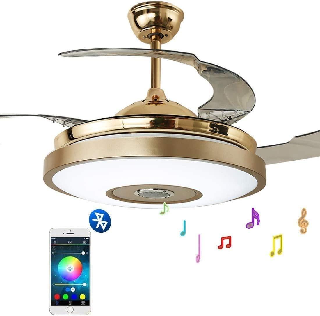 Luz de Ventilador de Techo Inteligente de Música de 42 Pulgadas con Altavoz Bluetooth Y Control Remoto, Luz de Techo Silenciosa para Dormitorio, Comedor, Sala de Estar, Lámpara Decorativa, C-L, 42