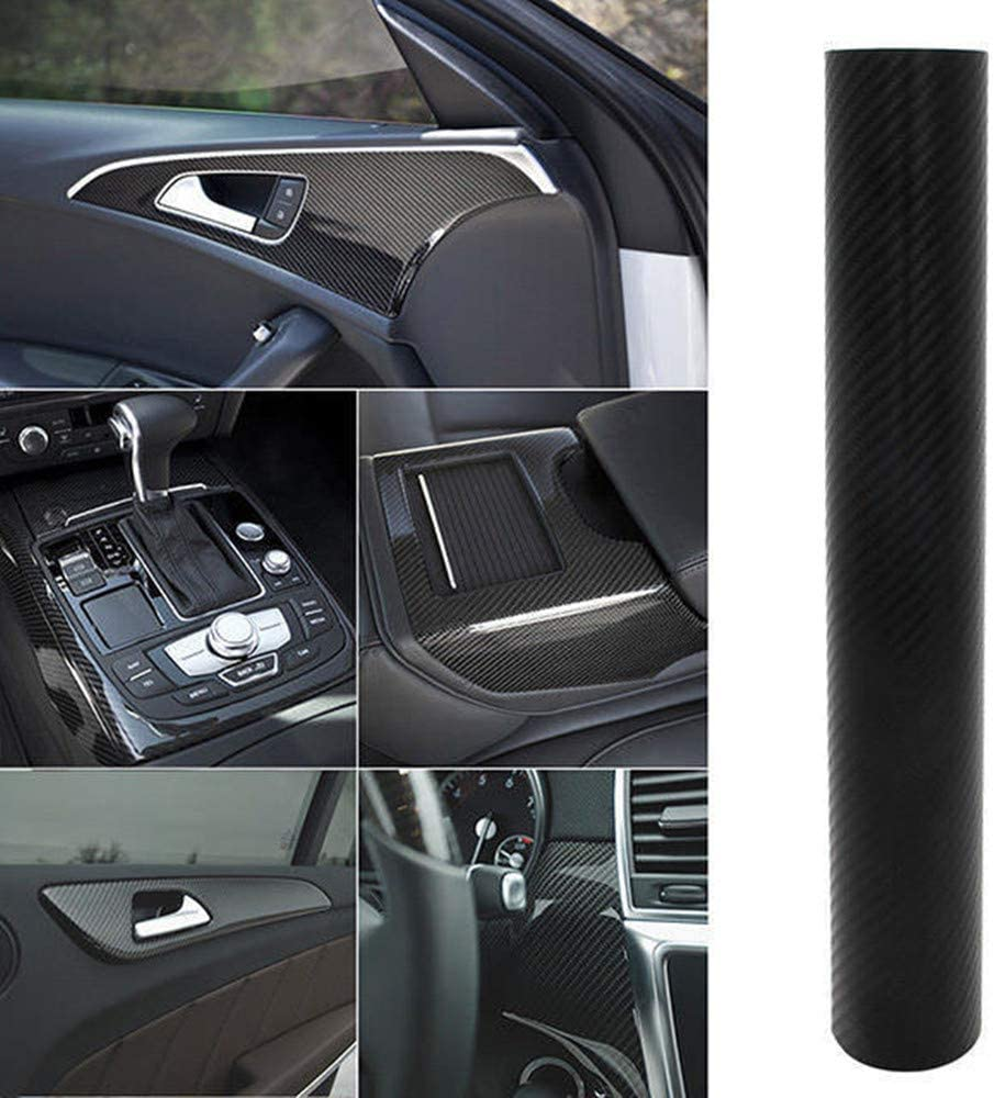 Wilktop 4D Autocollant Carbone Film Autocollant Voiture Fibre Vinyle Adh/ésif Autocollants pour V/éhicule D/écoration Noir 100 x 152cm