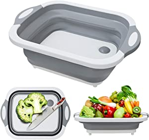 MFTEK Foldable Multifunction Chopping Board, Collapsible Dish Tub Basin Cutting Board Colander, Vegetable Fruit Wash and Drain Sink Storage Basket, Space Saving for Kitchen Home