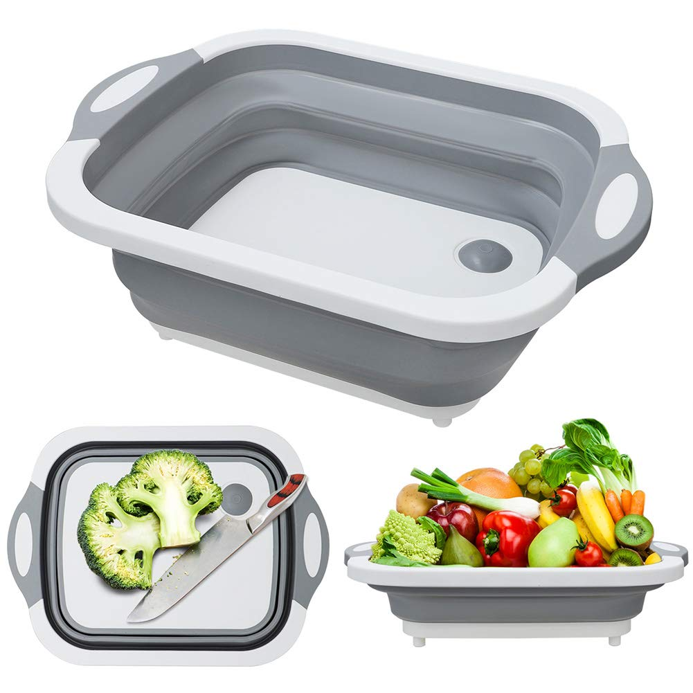 MFTEK Foldable Multifunction Chopping Board, Collapsible Dish Tub Basin Cutting Board Colander, Vegetable Fruit Wash and Drain Sink Storage Basket, Space Saving for Kitchen Home by MFTEK