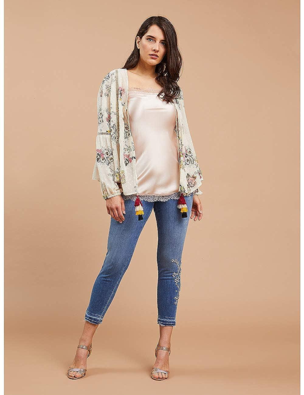 Fiorella Rubino Jeans Skinny con Pietre Italian Plus Size