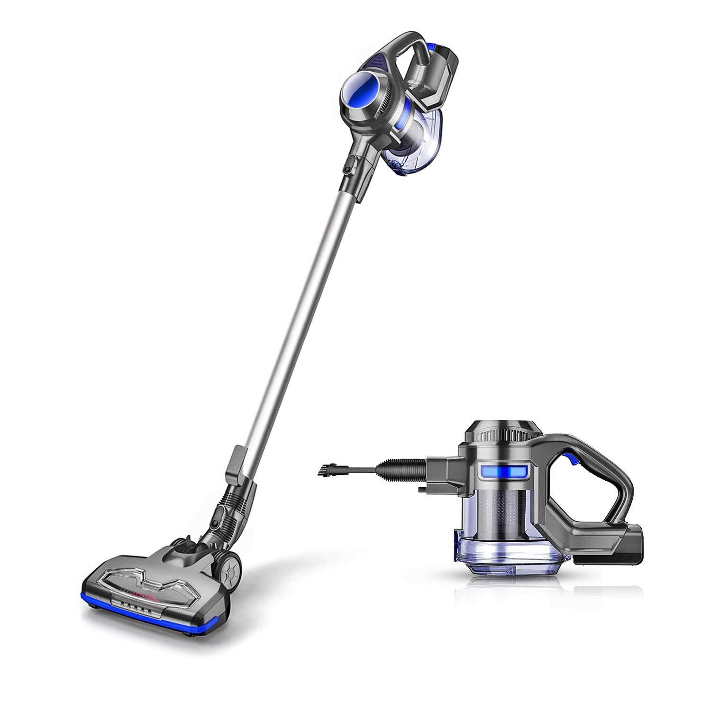 MOOSOO M X6 Cordless 4 in 1 Powerful Suction 10Kpa Stick Handheld Vacuum Cleaner for Home Hard Floor Carpet Car Pet Lightweight, Gray & Blue by MOOSOO M