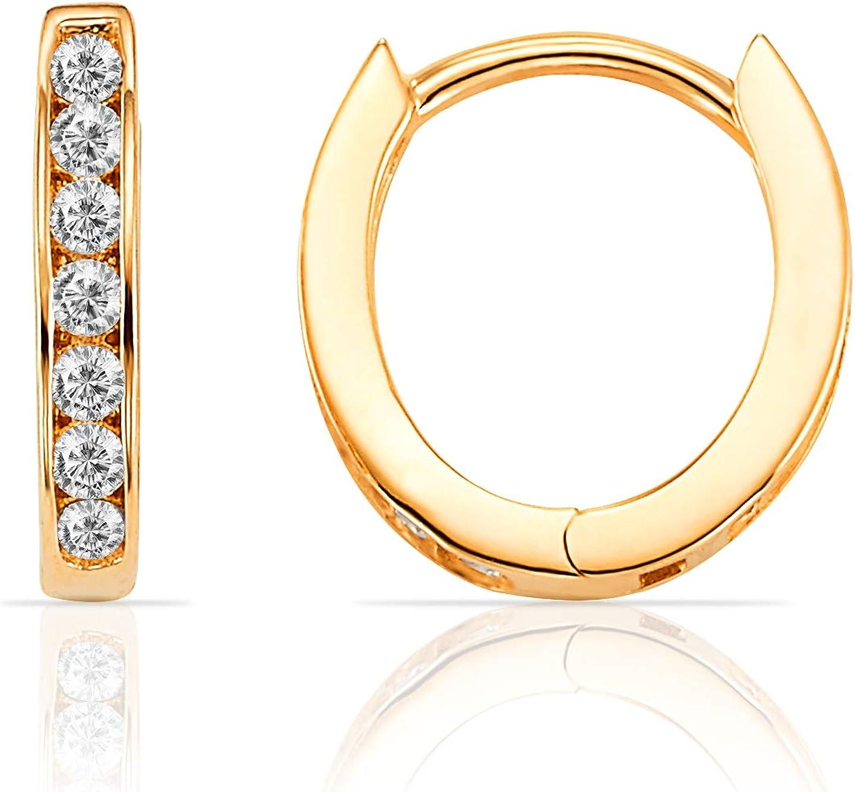 Ioka 14K Tri Color Gold 3 Line Square Tube Hoop Hinged Earrings
