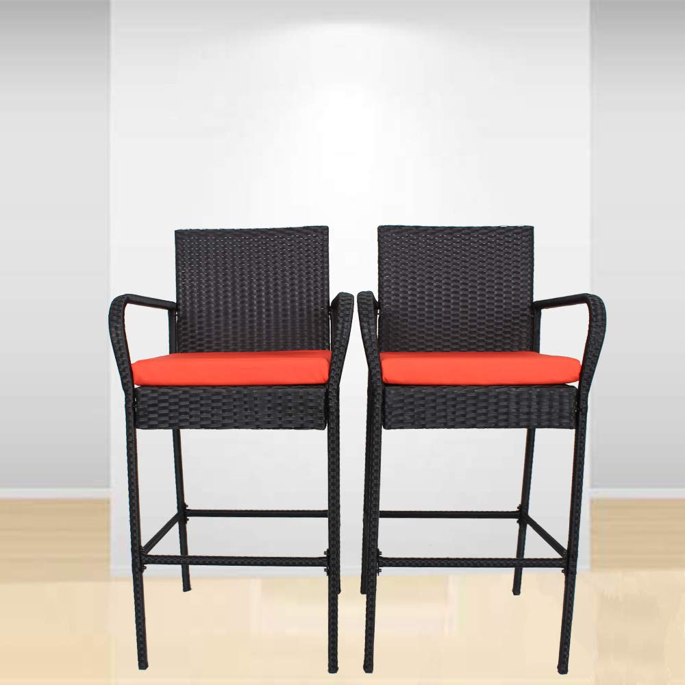 Outime Patio Bar Furniture PE Rattan Chair Bar Stools Black Wicker Cushioned Bar stools Set(Orange Cushions,Set of 2
