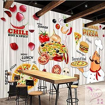 BZDHWWH Custom 3D Mural Pizza 3D Pastel Hamburguesa Panadería ...