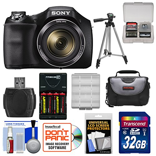 Sony Cyber Shot Dsc H300 Digital Camera With 32Gb Card   Batteries   Charger   Case   Tripod Kit