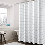 Shower Curtain Vs Shower Liner G² Eco Life Waterproof Shower Curtain, Fabric, 12 Metal Ring Hooks, Mildew Resistant, Anti-Bacterial, No Chemical Odor, Eco-Friendly, Polyester, 72 x 72 inches, Black and White Grid