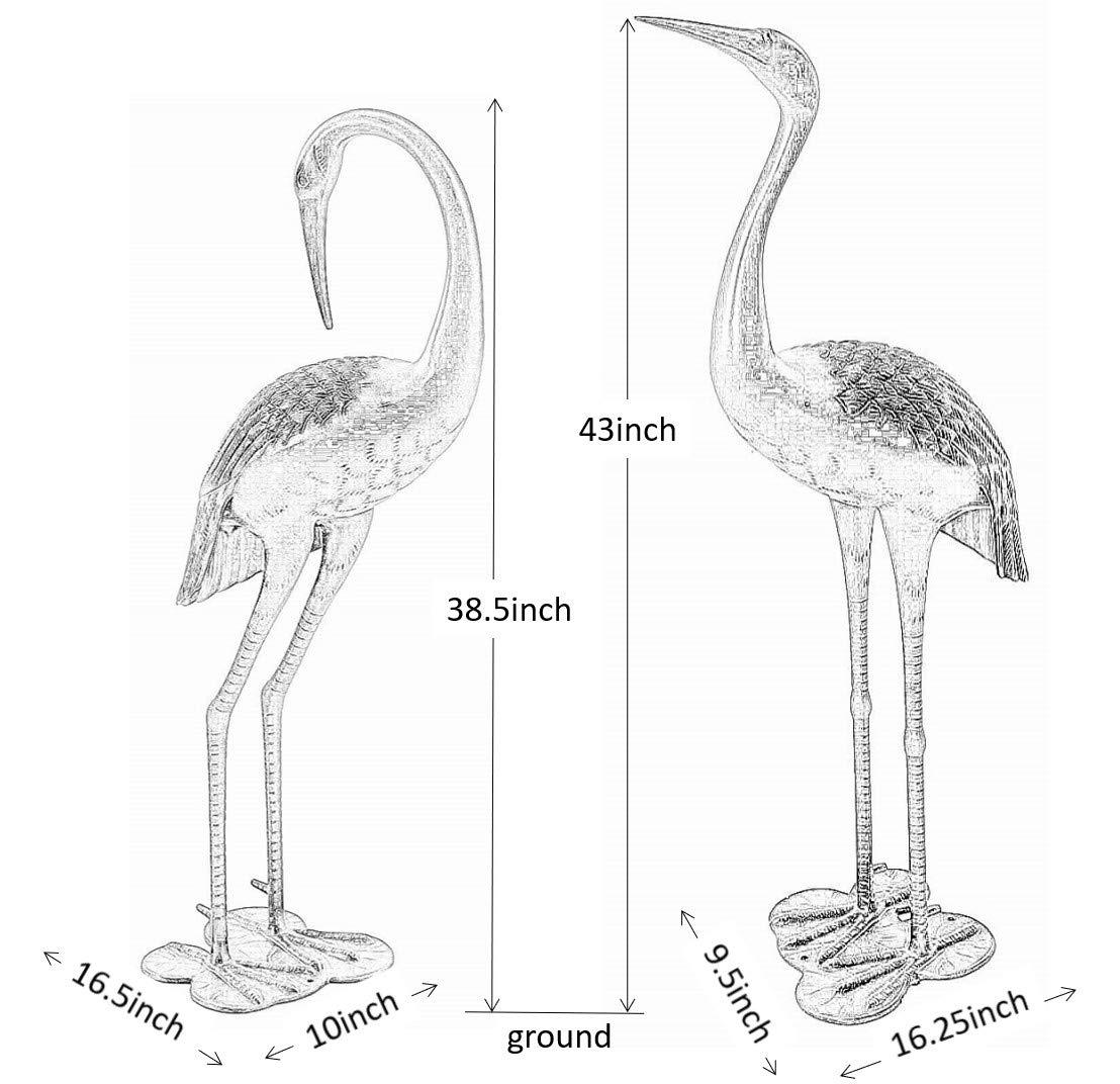 Metal Cranes for Yard Garden Sculpture Pair Statue - Upright and Preening Standing Crane Heron Couple Sculpture Set, Matt Black by PierSurplus (Image #3)
