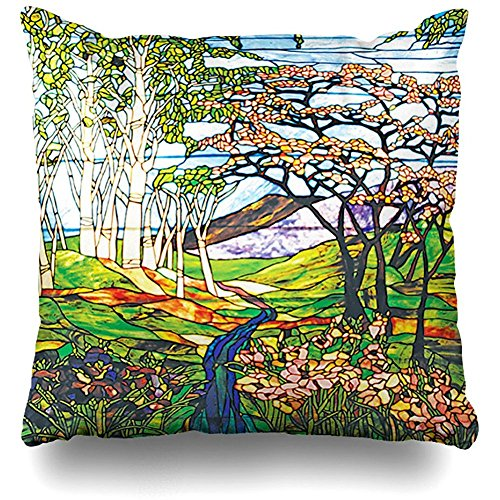 Birch Glass Waterfall - Throw Pillows Covers For Couch/Bed 18 x 18 inch,Waterfall Iris Birch Tiffany Stained Glass Window Home Sofa Cushion Cover Pillowcase Gift Decorative Hidden Zipper Summer Beach Sunlight