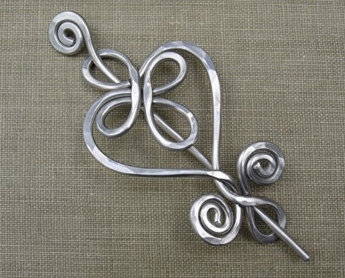 Celtic Heart Aluminum Shawl Pin, Sweater Brooch, Scarf Pin, Knitter Gift Handmade ()